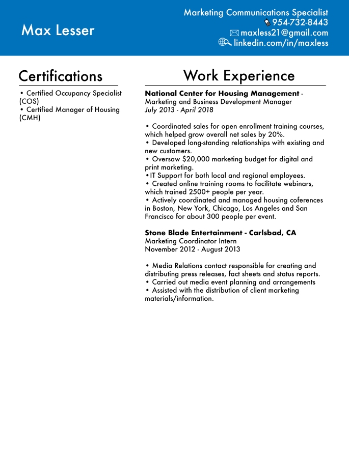 Max Lesser Resume Page 2